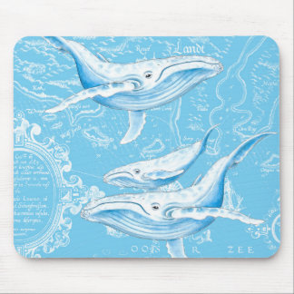 Blue Whales Family Mouse Pad