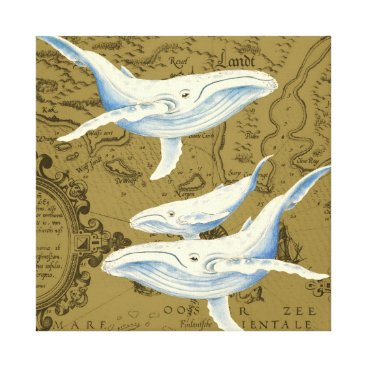 Art Themed Blue Whales Family Olive Green Canvas Print