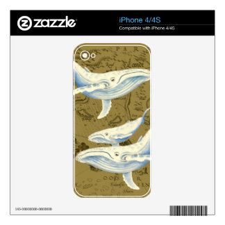 Blue Whales Family Olive Green Decals For The iPhone 4S