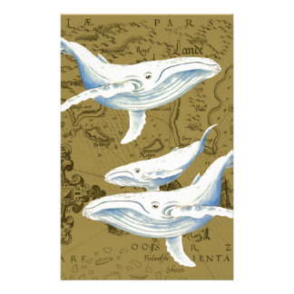 Blue Whales Family Olive Green Stationery