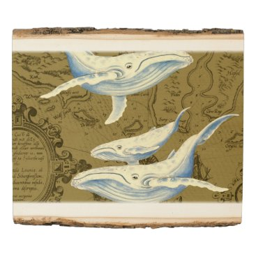 Art Themed Blue Whales Family Olive Green Wood Panel
