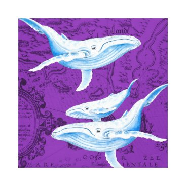 Art Themed Blue Whales Family Purple Canvas Print