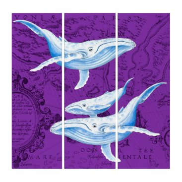 Art Themed Blue Whales Family Purple Triptych