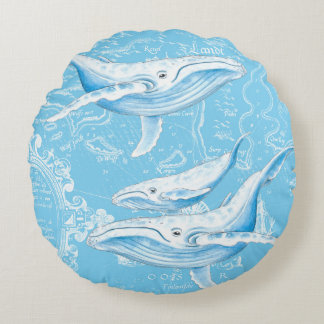 Blue Whales Family Round Pillow