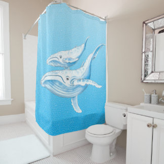 Blue Whales Family Shower Curtain