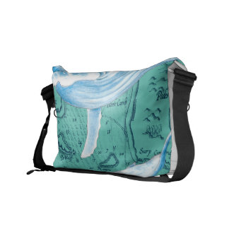 Blue Whales Family Teal Messenger Bag