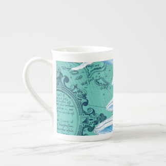 Blue Whales Family Teal Tea Cup