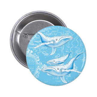 Blue Whales Family Vintage Button