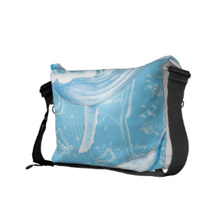Blue Whales Family Vintage Courier Bag