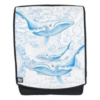 Blue Whales Family White Backpack