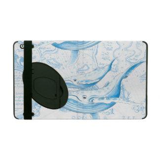 Blue Whales Family White iPad Folio Case