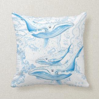 Blue Whales Family White Throw Pillow