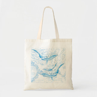 Blue Whales Family White Tote Bag