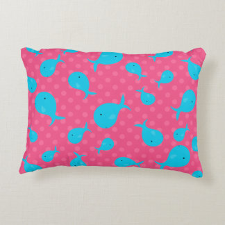 Blue whales pink polka dots accent pillow