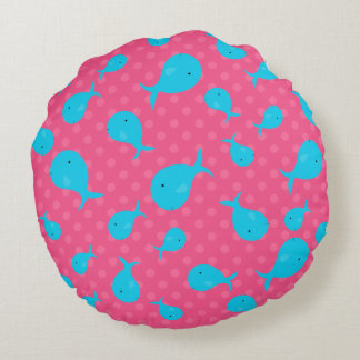Blue whales pink polka dots round pillow