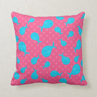 Blue whales pink polka dots throw pillow