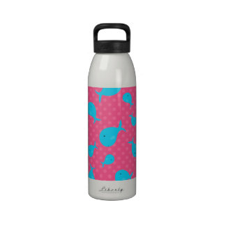 Blue whales pink polka dots reusable water bottles