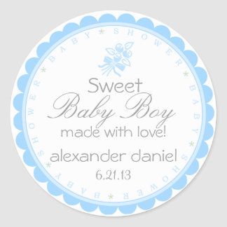 Blue Whimsical Baby Shower Classic Round Sticker
