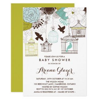 Blue Whimsical Birdcages Baby Shower Invitation