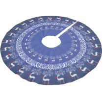 Blue Whimsical Christmas Prancing Deer and Lace Brushed Polyester Tree Skirt