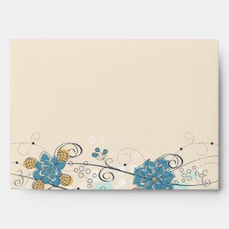Blue whimsical floral swirls wedding A7 envelope