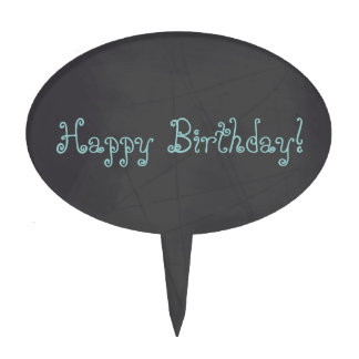 Blue Whimsical Happy Birthday Chalkboard Cake Topper