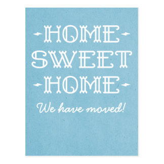 Blue Whimsical Home Sweet Home Postcard