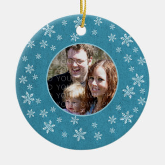 Blue Whimsical Snowflakes Photo Ornament