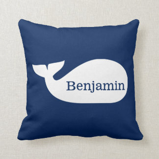 Blue Whimsical Whale Personalized Children's Throw Pillows