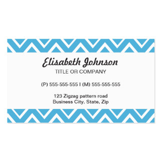 Blue whimsical zig zags zigzag chevron pattern Double-Sided standard business cards (Pack of 100)