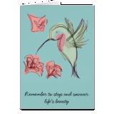 Blue Whimsy Hummingbird Greeting Card
