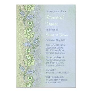 Blue Whisper Floral Rehearsal Dinner Card