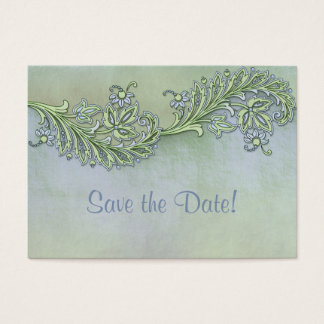 Blue Whisper Floral Save The Date Business Card