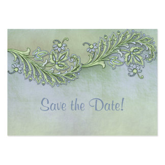 Blue Whisper Floral Save The Date Large Business Card