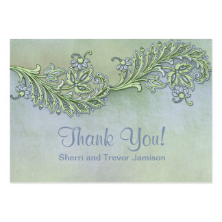 Blue Whisper Floral Thank You Large Business Card