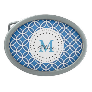 Blue White Abstract Circles Pattern Belt Buckle