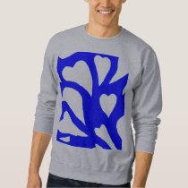 Blue & white abstract hearts swirls pattern 2 (b) sweatshirt