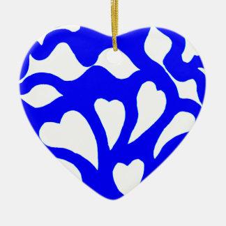 Blue & white abstract hearts swirls pattern ceramic ornament