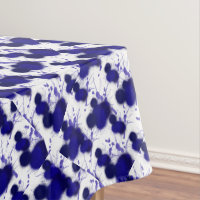 Blue White Abstract Modern Paint Splatter Trendy Tablecloth
