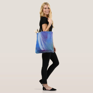Blue White Abstract Sailboat Tote Bag
