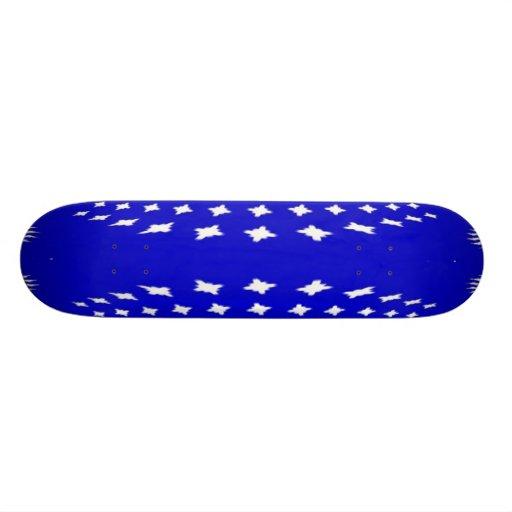 Blue White Abstract Skateboard