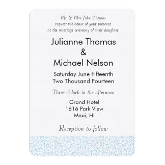 Blue White Abstract Wedding Card