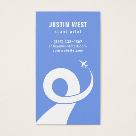 Blue and White Stunt Pilot Silhouette Aviation Business Cards