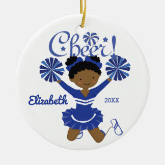 Blue & White African American Cheerleader Ornament