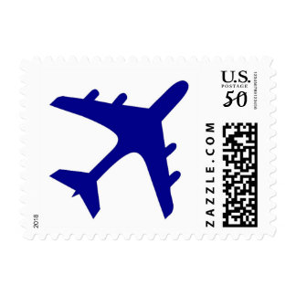 Blue white airplane design postage stamps