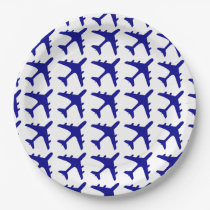 Blue white airplane pattern paper plates
