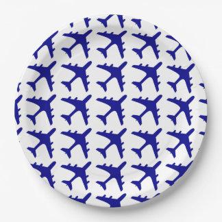 Blue white airplane pattern paper plates
