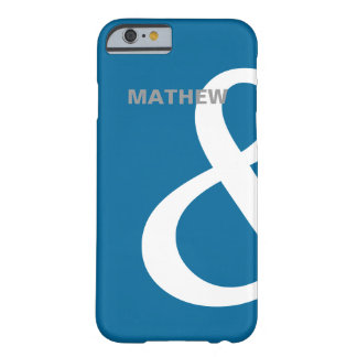 Blue White Ampersand Lovers Names Matching Left Barely There iPhone 6 Case