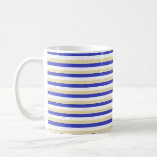 Blue, White and Beige Stripes Coffee Mug