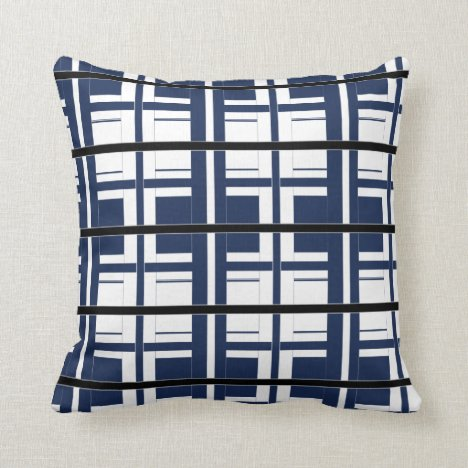 Blue White and Black Classic Throw Pillow